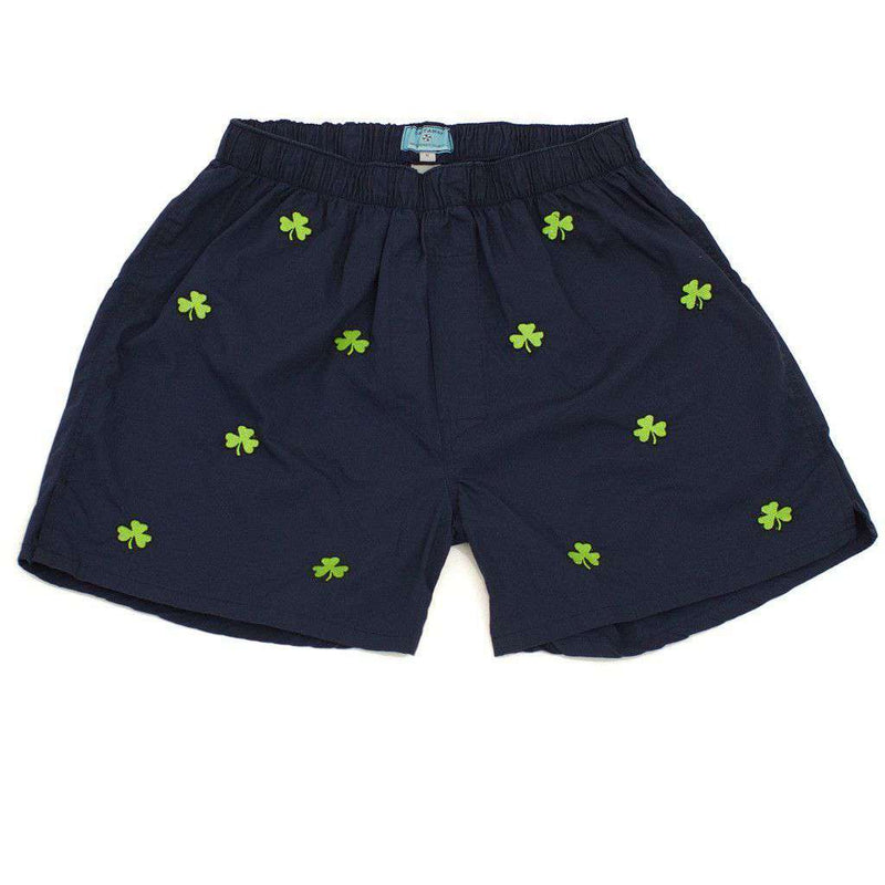 Men's Loungewear/Boxers - Barefoot Boxer In Navy With Shamrocks By Castaway Clothing