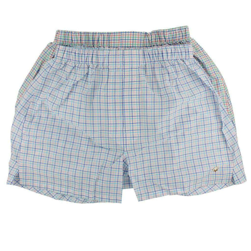 Men's Loungewear/Boxers - Boxer Twin Set In Aqua/Seafoam Multi-Check By Cotton Brothers