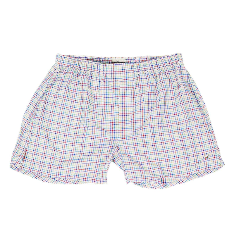 Men's Loungewear/Boxers - Boxer Twin Set In Blue And White Multi Check By Cotton Brothers