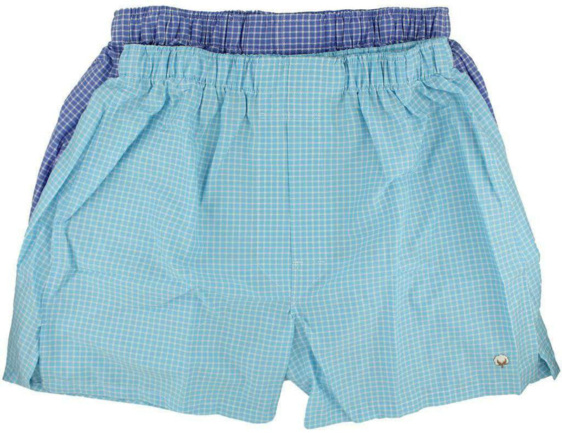 Men's Loungewear/Boxers - Boxer Twin Set In Periwinkle/Aqua Mini-Check By Cotton Brothers