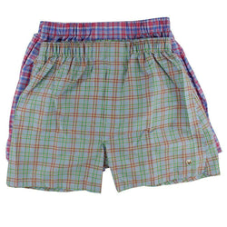 Men's Loungewear/Boxers - Boxer Twin Set In Pink/Blue Plaid By Cotton Brothers