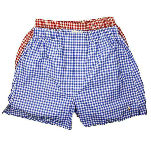 Boxer Twin Set in Royal and Crimson Check by Cotton Brothers