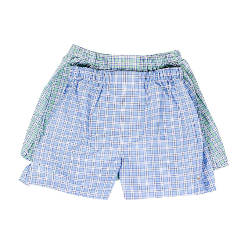Men's Loungewear/Boxers - Boxer Twin Set In Seafoam And Aqua Check By Cotton Brothers