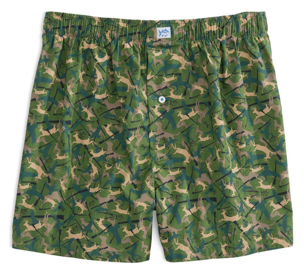 Men's Loungewear/Boxers - Camo Boxers In Evergreen By Southern Tide