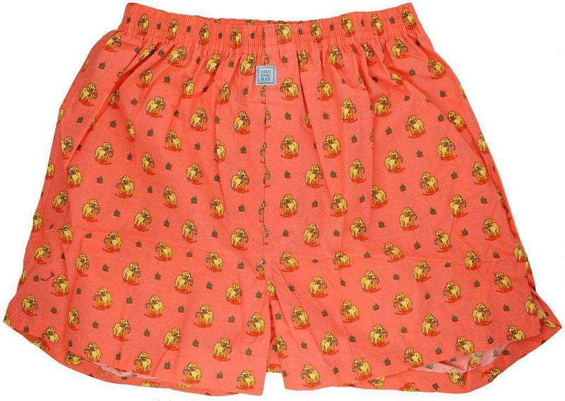 Men's Loungewear/Boxers - Duck Dog Sporting Boxers In Coral By Bird Dog Bay