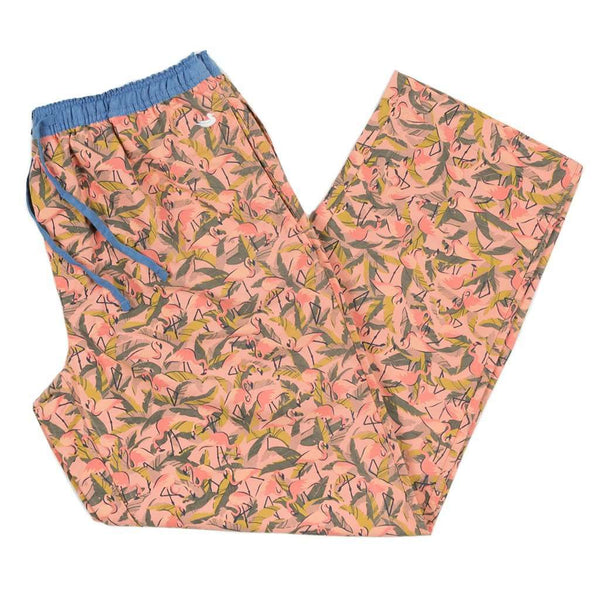 Men's Loungewear/Boxers - Flamingos Savannah Lounge Pant In Coral & Lime By Southern Marsh