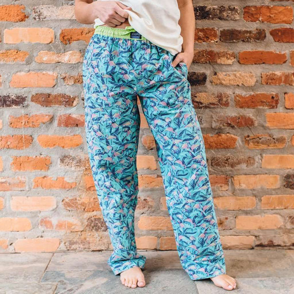 Men's Loungewear/Boxers - Flamingos Savannah Lounge Pant In Sage & Pink By Southern Marsh
