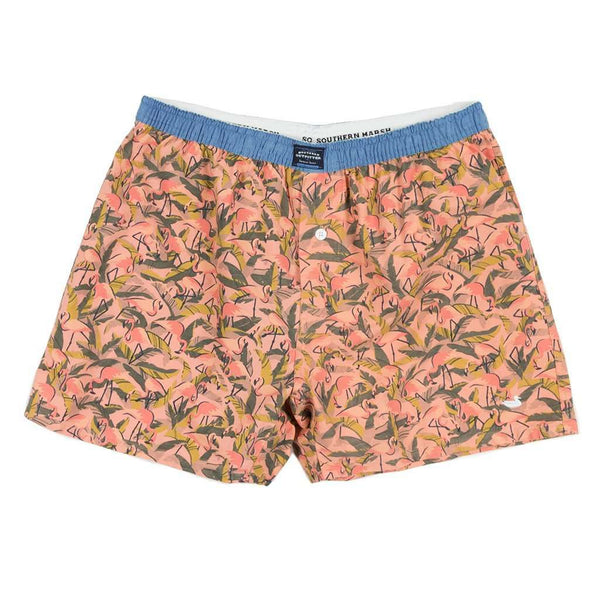 Men's Loungewear/Boxers - Hanover Flamingos Boxer In Coral & Lime By Southern Marsh