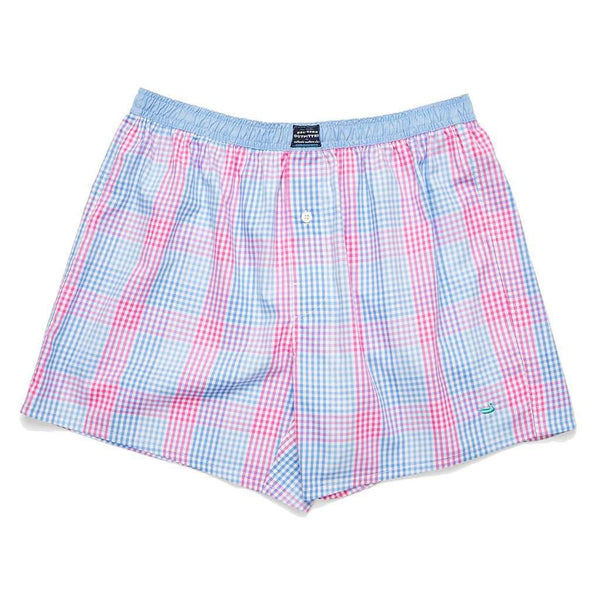 Men's Loungewear/Boxers - Hanover Gingham Boxers In Lilac & Pink By Southern Marsh