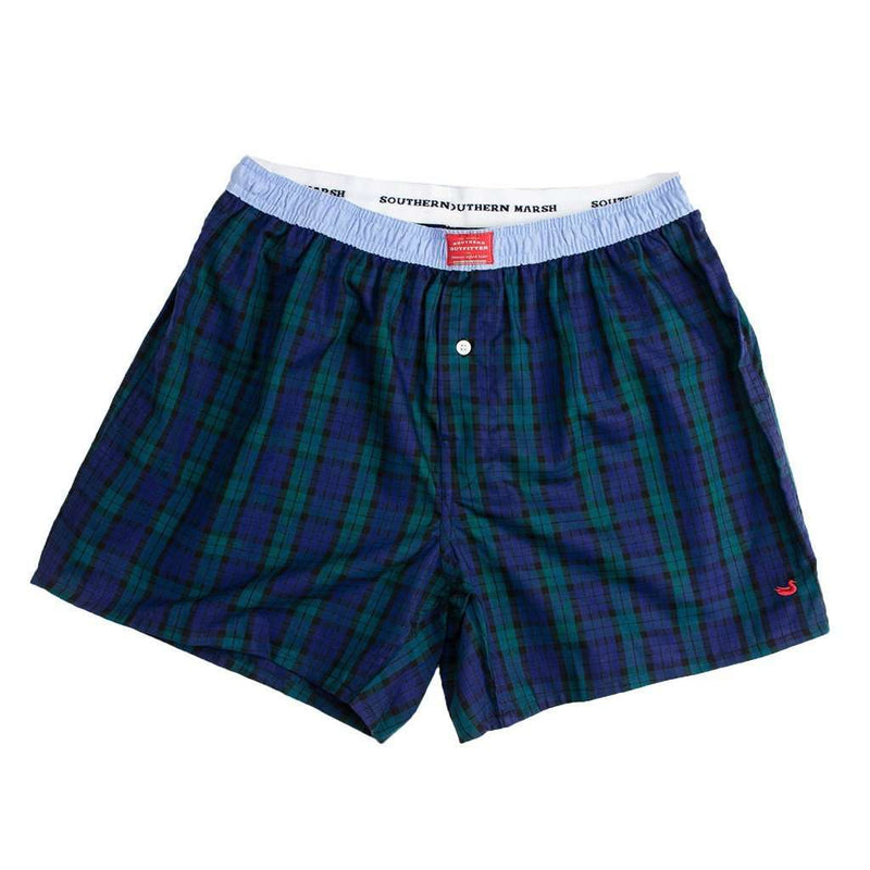 Men's Loungewear/Boxers - Hanover Oxford Boxers In Navy And Green Tartan By Southern Marsh