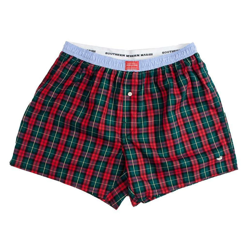 Men's Loungewear/Boxers - Hanover Oxford Boxers In Red And Green Tartan By Southern Marsh
