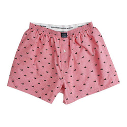 Men's Loungewear/Boxers - Hanover Oxford Boxers In Red By Southern Marsh