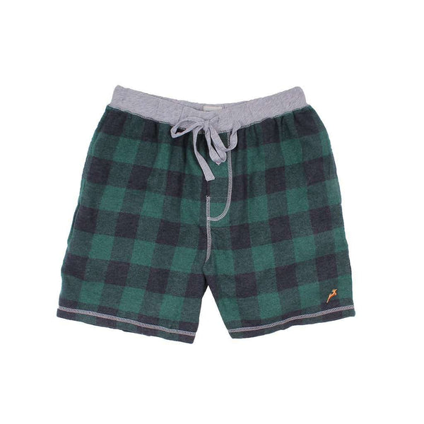Men's Loungewear/Boxers - Melange Buffalo Check Flannel Boxer In Green By True Grit - FINAL SALE