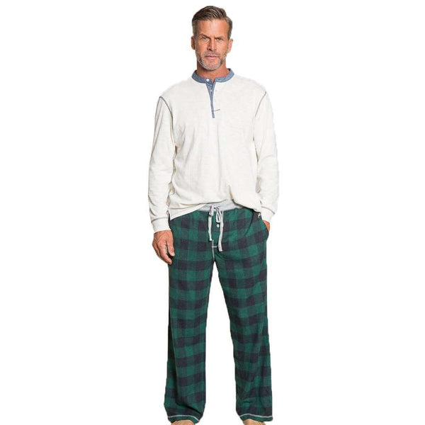 Men's Loungewear/Boxers - Melange Buffalo Check Flannel Pant In Green By True Grit - FINAL SALE