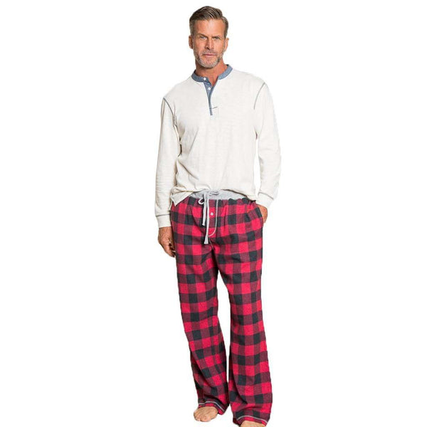 Men's Loungewear/Boxers - Melange Buffalo Check Flannel Pant In Red By True Grit - FINAL SALE