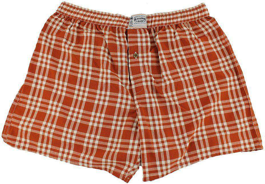 Men's Loungewear/Boxers - Men's Boxers In Burnt Orange And White By Olde School Brand - FINAL SALE