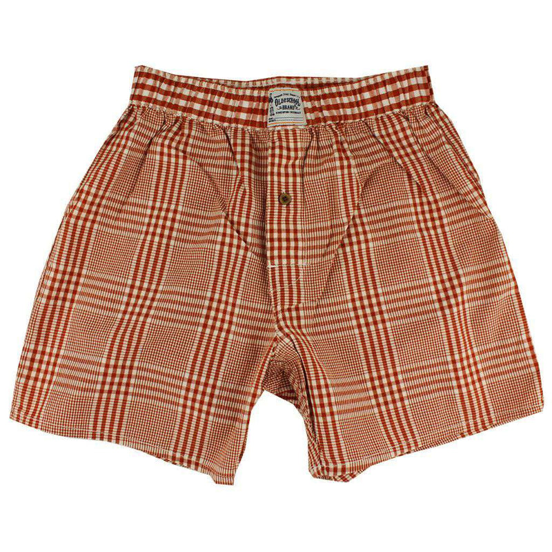 Men's Loungewear/Boxers - Men's Boxers In Burnt Orange Plaid By Olde School Brand - FINAL SALE