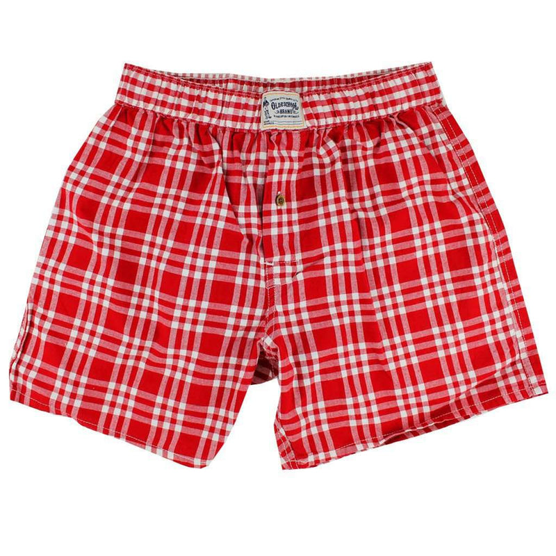 Men's Loungewear/Boxers - Men's Boxers In Crimson Madras By Olde School Brand - FINAL SALE
