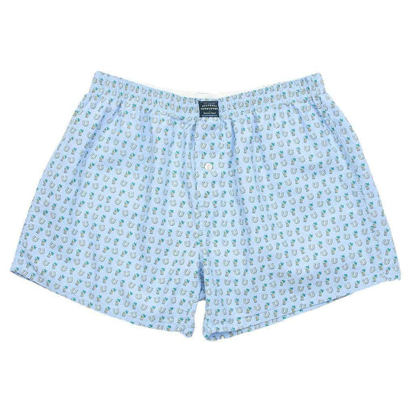 Men's Loungewear/Boxers - Mint Julep & Horseshoes Hanover Boxer In Light Blue By Southern Marsh