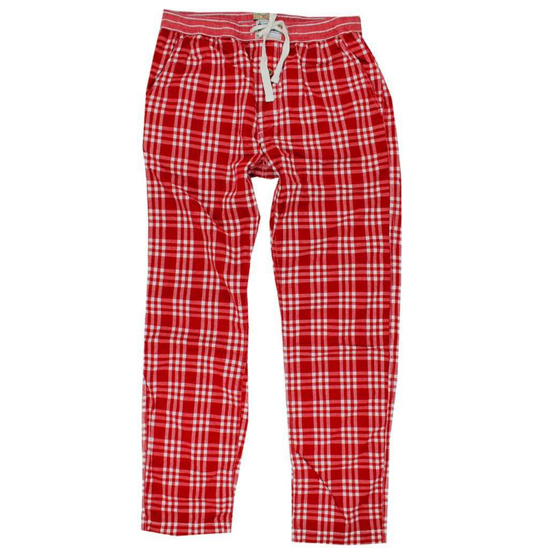 Men's Loungewear/Boxers - Pajama Pants In Crimson Madras By Olde School Brand - FINAL SALE