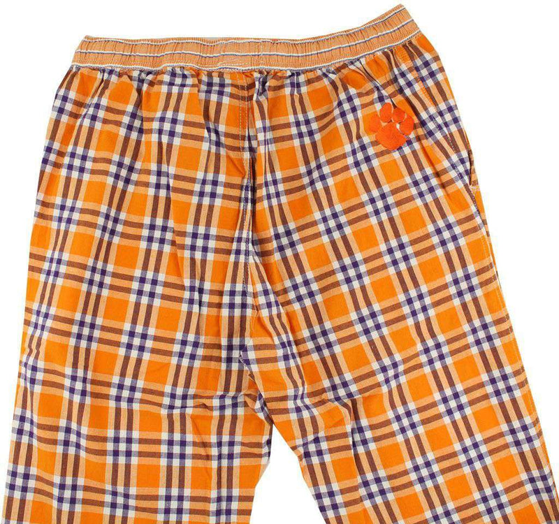 Men's Loungewear/Boxers - Pajama Pants In Orange And Purple Madras By Olde School Brand - FINAL SALE