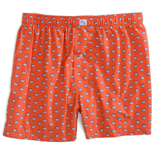 Men's Loungewear/Boxers - Skipjack Boxers In Orange Sky By Southern Tide