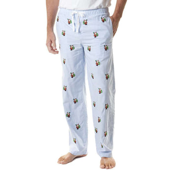 Men's Loungewear/Boxers - Sleeper Pant In Oxford Blue With Embroidered Santa By Castaway Clothing