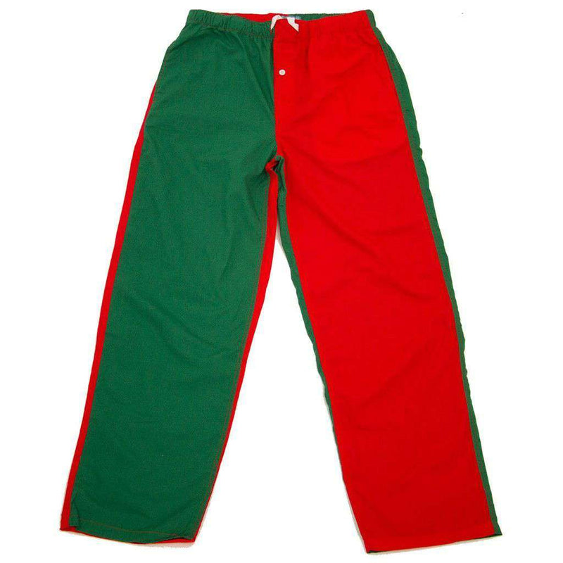 Men's Loungewear/Boxers - Sleeper Pants In Red And Green Panels By Castaway Clothing - FINAL SALE