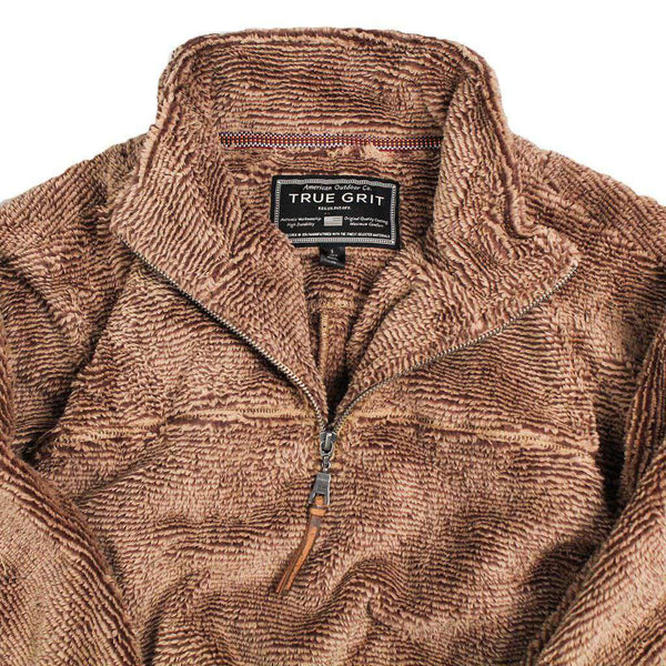 1/2 Zip Luxe Fleece Stripe Pullover in Beige and Dark Brown by True Grit - Country Club Prep