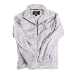 1/2 Zip Luxe Fleece Stripe Pullover in Grey and White by True Grit - Country Club Prep