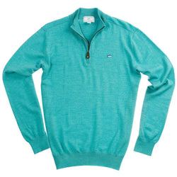 Men's Outerwear - 1/4 Zip Merino Pullover In Haint Blue By Southern Tide