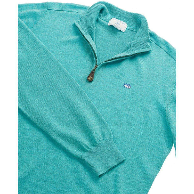 1/4 Zip Merino Pullover in Haint Blue by Southern Tide