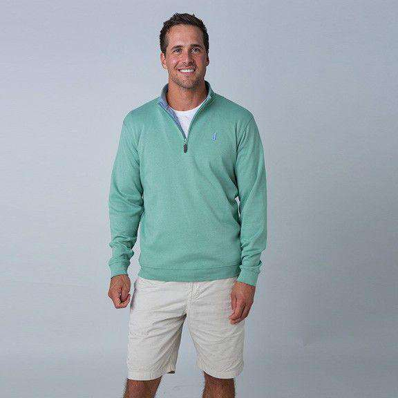 Men's Outerwear - 1/4 Zip Pullover In Eucalyptus Green By Johnnie-O