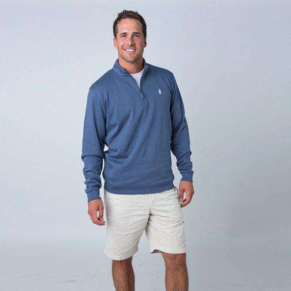 Men's Outerwear - 1/4 Zip Pullover In Pacific Blue By Johnnie-O