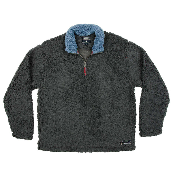 Men's Outerwear - Appalachian Pile Pullover 1/4 Zip In Midnight Grey By Southern Marsh