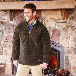 Men's Outerwear - Appalachian Pile Pullover 1/4 Zip In Stone Brown By Southern Marsh - FINAL SALE