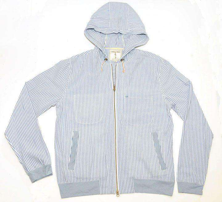 Men's Outerwear - Blue Magic Seersucker Hoodie