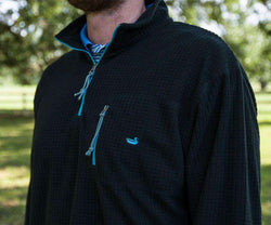 Men's Outerwear - FieldTec Dune Pullover In Black With Chill Blue By Southern Marsh