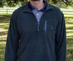 Men's Outerwear - FieldTec Dune Pullover In Midnight Grey With Iris By Southern Marsh