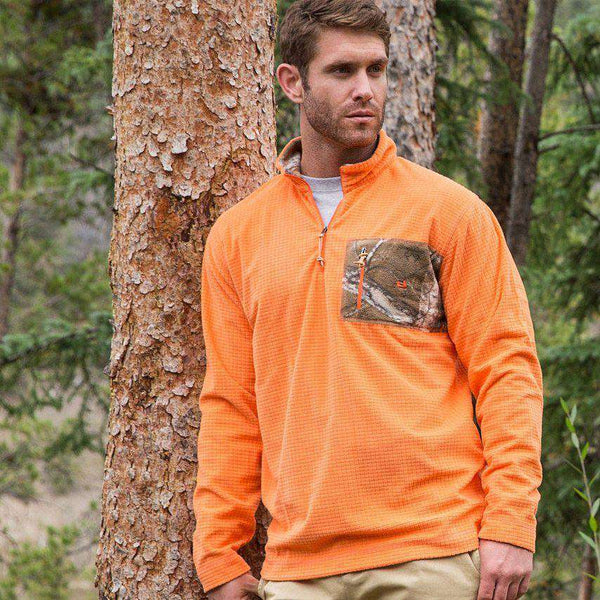 FieldTec Dune Pullover in Orange with Camo Pocket by Southern Marsh