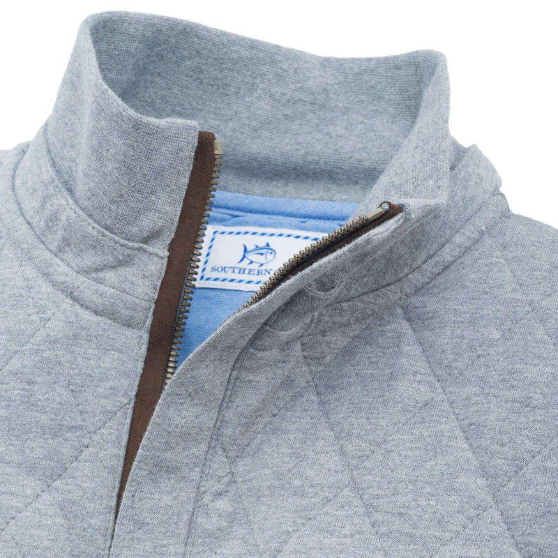 Georgetown Quilted 1/4 Zip Pullover in Steel Grey by Southern Tide