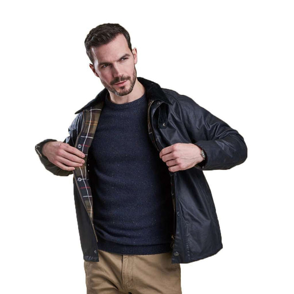 Heskin Wax Jacket in Navy by Barbour - FINAL SALE