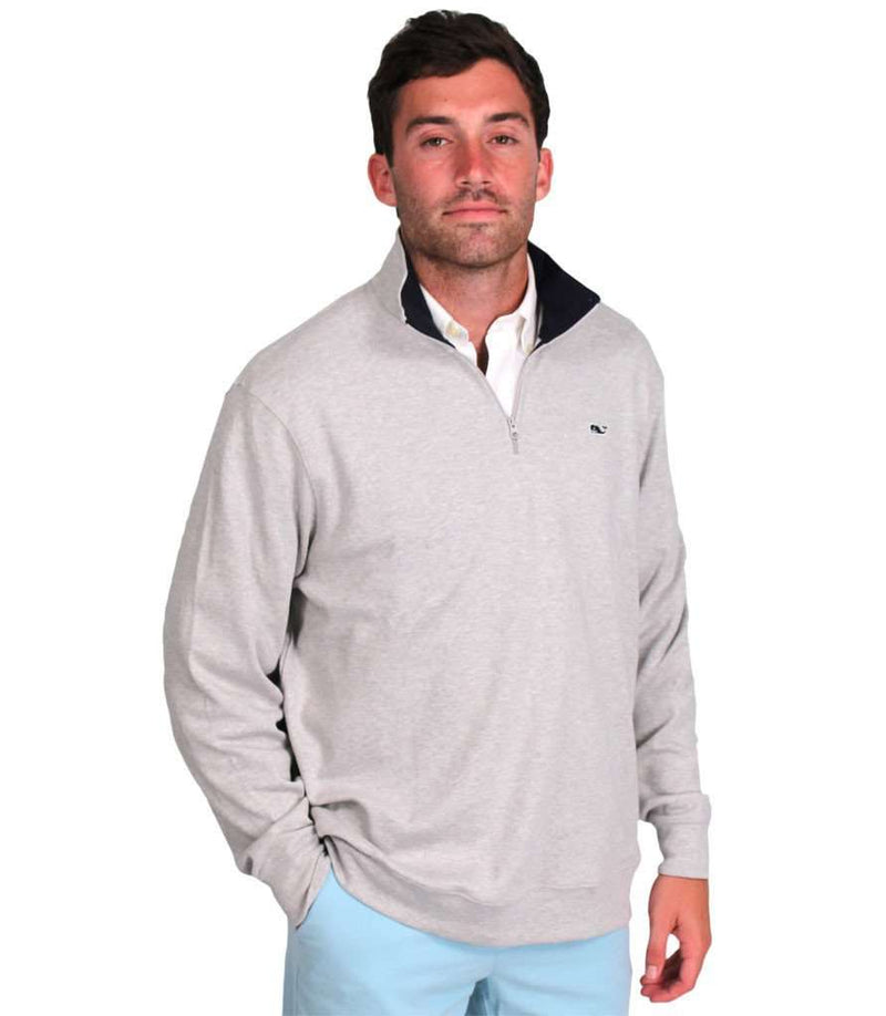 Men's Outerwear - Limited Edition Jersey 1/4 Zip In Grey By Vineyard Vines