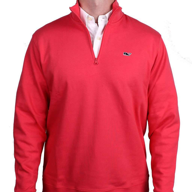 Men's Outerwear - Limited Edition Jersey 1/4 Zip In Sailor's Red By Vineyard Vines