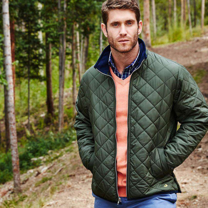 Men's Outerwear - Marshall Quilted Jacket In Dark Green By Southern Marsh