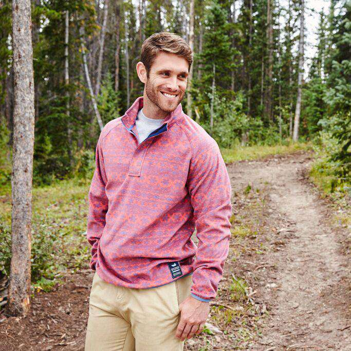 Men's Outerwear - Monmouth Flurry Fleece 1/4 Zip In Red And French Blue By Southern Marsh