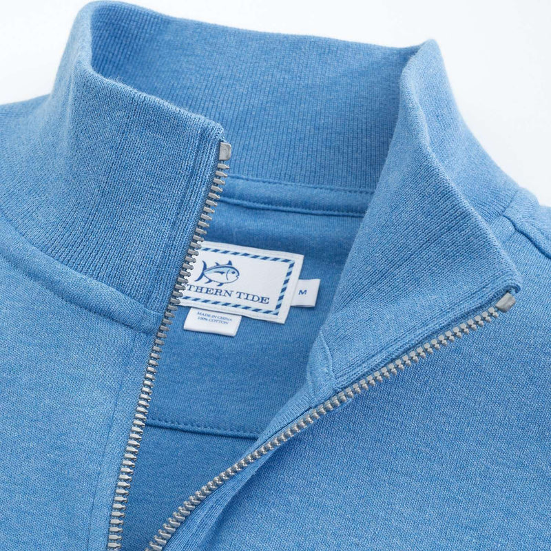 Men's Outerwear - Newport Heather Lightweight 1/4 Zip Pullover In Meridian Blue By Southern Tide