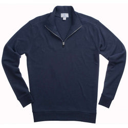 Men's Outerwear - Newport Heather Lightweight 1/4 Zip Pullover In Navy By Southern Tide