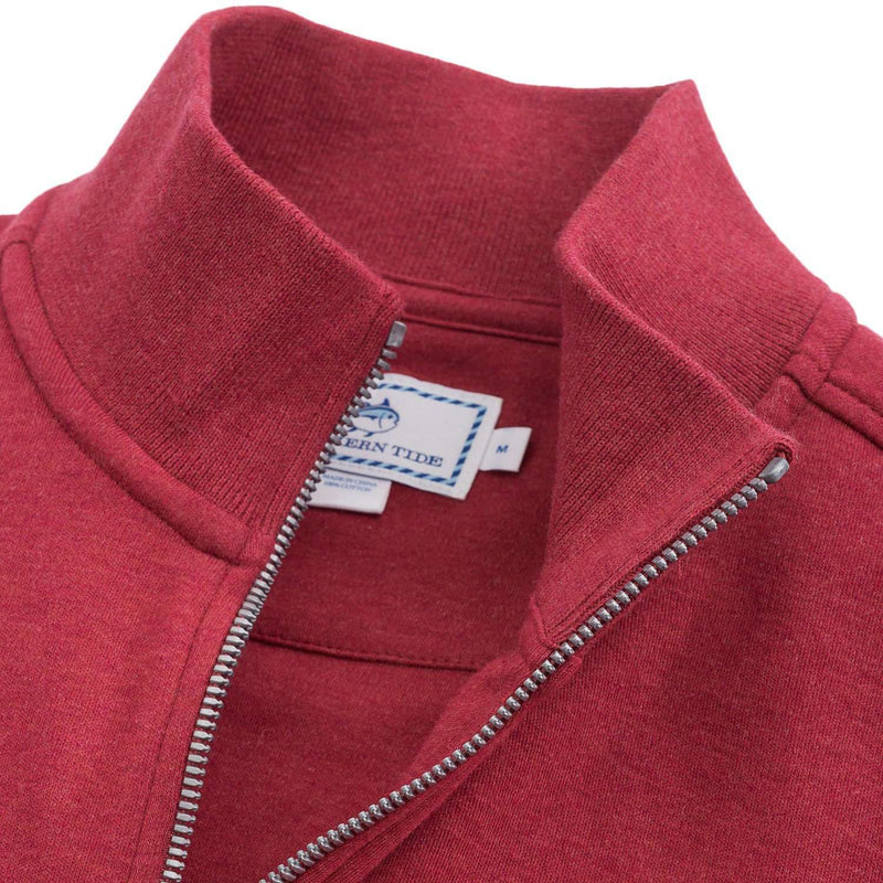 Newport Heather Lightweight 1/4 Zip Pullover in Sangria Red by Southern Tide