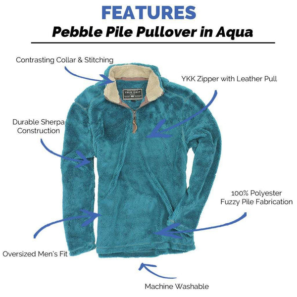 Men's Outerwear - Pebble Pile Pullover 1/2 Zip In Aqua By True Grit